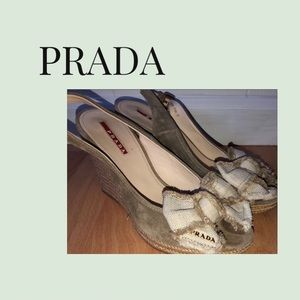 PRADA Gray-Light Beige Wedge Heeled Sandals